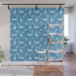 Animal kingdom. White silhouettes of wild animals. African giraffes, leopards, cheetahs. snakes, exotic tropical birds. Tribal primitive ethnic nature blue grunge distressed pattern. Wall Mural