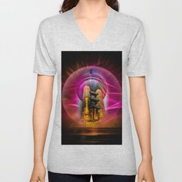 China Art Pearl Tower Unisex V-Neck