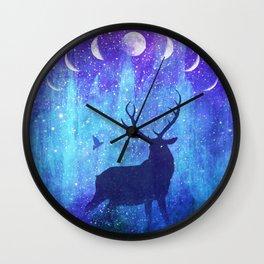 Moon Phase Deer // Phantom of Peaceful Nights Wall Clock