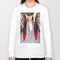 heels Long Sleeve T-shirts featuring Red Heels by TARA SCHLAYER