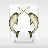 narwhal Shower Curtains featuring Narwhal by Kirsten Sevig