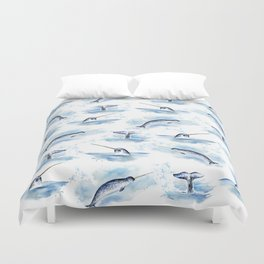 Watercolor Narwhals Duvet Cover