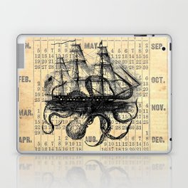 Octopus Kraken attacking Ship Antique Almanac Paper Laptop & iPad Skin
