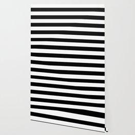 Stripe Black And White Horizontal Line Bold Minimalism Wallpaper