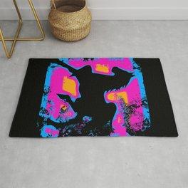 Colorful Western-style Horse Silhouette Rug