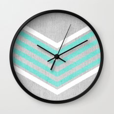 Teal and White Chevron on Silver Grey Wood Wall Clock