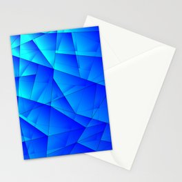 Bright sea pattern of heavenly and blue triangles and irregularly shaped lines. Stationery Cards