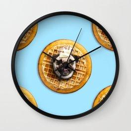 Pug Waffles Wall Clock