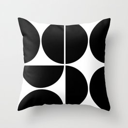 Mid Century Modern Black Square Throw Pillow