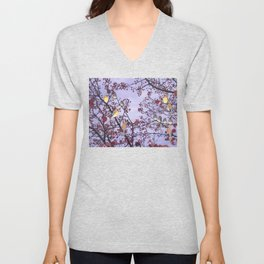 cedar waxwings and berries Unisex V-Neck