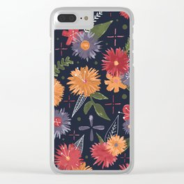 bright floral pattern on navy Clear iPhone Case