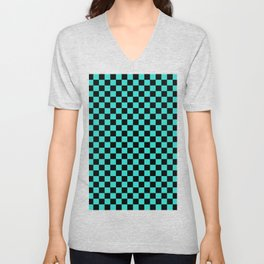 Black and Turquoise Checkerboard Unisex V-Neck
