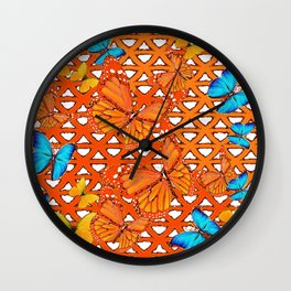 YELLOW BLUE ORANGE BUTTERFLY ABSTRACT WORLD Wall Clock