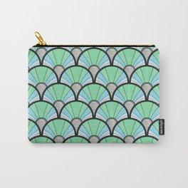 Green Pastel Art Deco Fan Pattern Carry-All Pouch