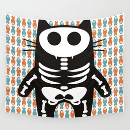 Meow Skeleton Wall Tapestry