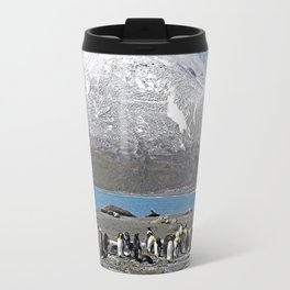 Snowy mountain with King Penguins in the Foreground Travel Mug