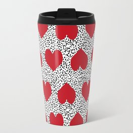 Hearts pattern black and white scattered painted dots minimal valentines day gifts Travel Mug