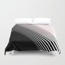 Rising Sun Minimal Japanese Abstract White Black Blush Pink Duvet Cover