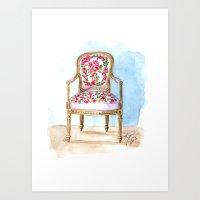 The Rose Chair Watercolor Art Print