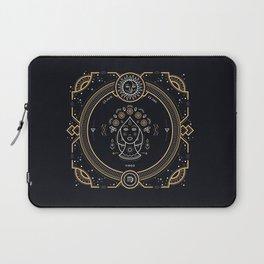 Virgo Zodiac Gold White on Black Background Laptop Sleeve