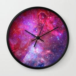 Pink Star Galaxy Wall Clock
