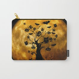 Surreal halloween tree with pumpkins, bats and owls Carry-All Pouch