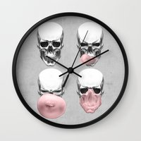 bubblegum Wall Clocks featuring Skulls chewing bubblegum by Piotr Burdan