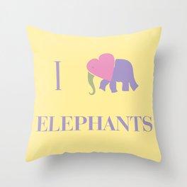 I Heart Elephants Throw Pillow