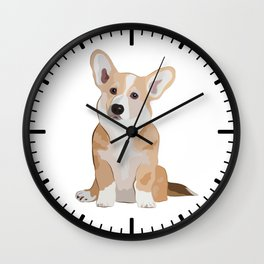 Corgi Waiting Wall Clock