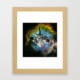Galaxy Cat Universe Kitten Launch                                                 Framed Art Print