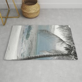 White Coconut Palm Tree Rug