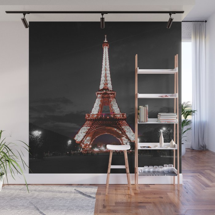 Paris Eiffel Tower Pink Night Wall Mural by vintageby2sweet Society6