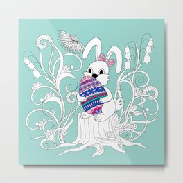 Cute easter rabbit with ornamental egg into flowers Metal Print