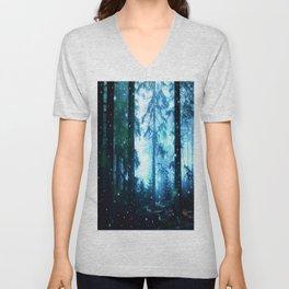 Fireflies Night Forest Unisex V-Neck