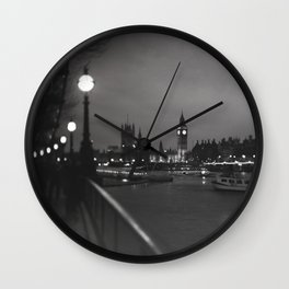 Big Ben by Night - Large Format Film Photography Wall Clock