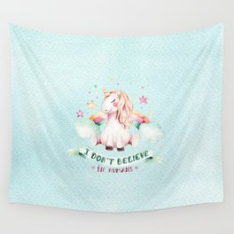 Magical pink teal watercolor rainbow unicorn typography Wall Tapestry