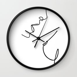 Boobs Lovers, Intimate Couple In Sexual Intercourse, Romantic Young Man And Woman In Love  Wall Clock