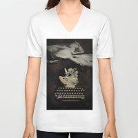 typewriter V-neck T-shirts featuring Typewriter by Tom Melsen
