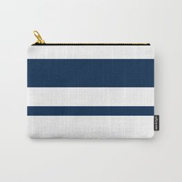 Mixed Horizontal Stripes - White and Oxford Blue Carry-All Pouch