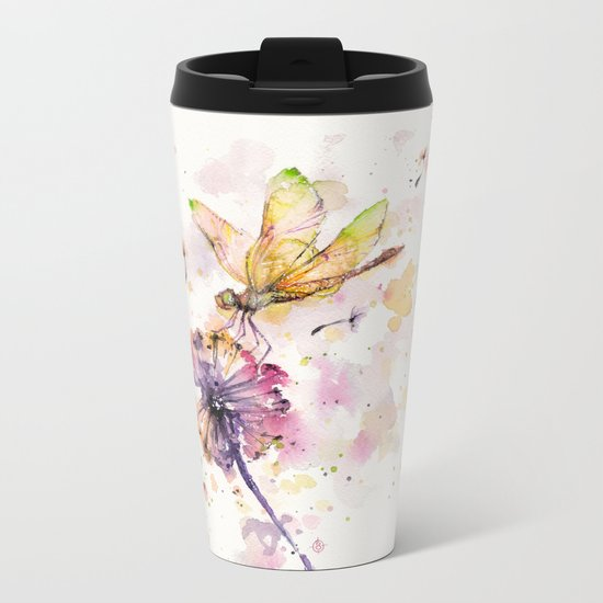 Dragonfly & Dandelion Dance Metal Travel Mug