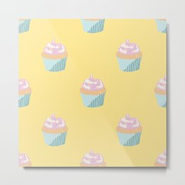 Cute Cupcakes (Seamless Pattern) Metal Print