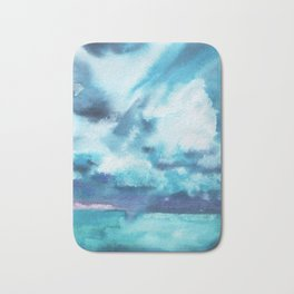 Watercolor blue sea Bath Mat