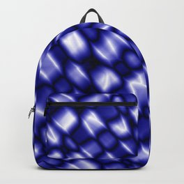 Vapor drips of the indigo diagonal with cracks on the fabric backing.  Backpack