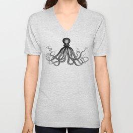 Octopus   Black and White Unisex V-Neck