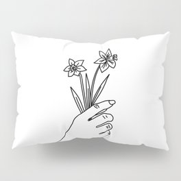 Daffodil Line Drawing (Birth Flower Series - March) Pillow Sham