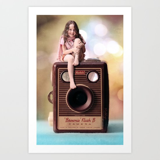 Smile for the Camera - vintage Kodak Brownie camera with miniature girl. Art Print