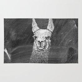 Black White Vintage Funny Llama Animal Art Drawing Rug