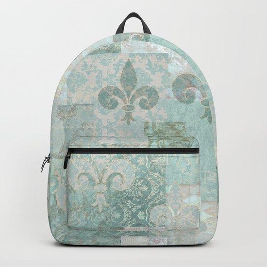 teal baroque vintage patchtwork Backpack