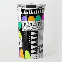 neon colors pattern with doodle elements. Travel Mug