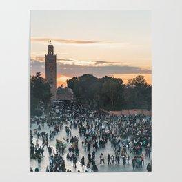 Sunset - Jemaa el-Fnaa, Marrakech Poster